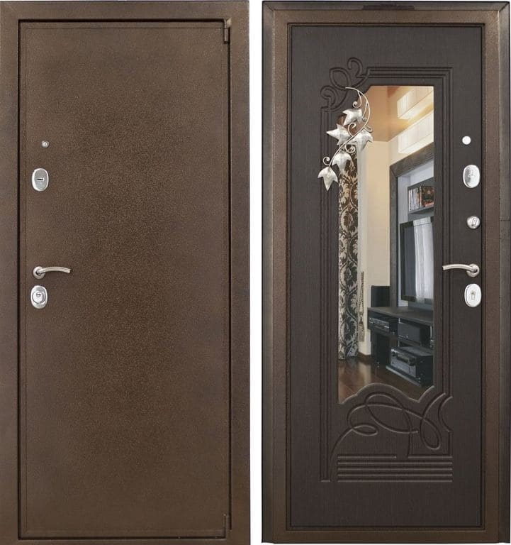 Входная дверь с зеркалом
